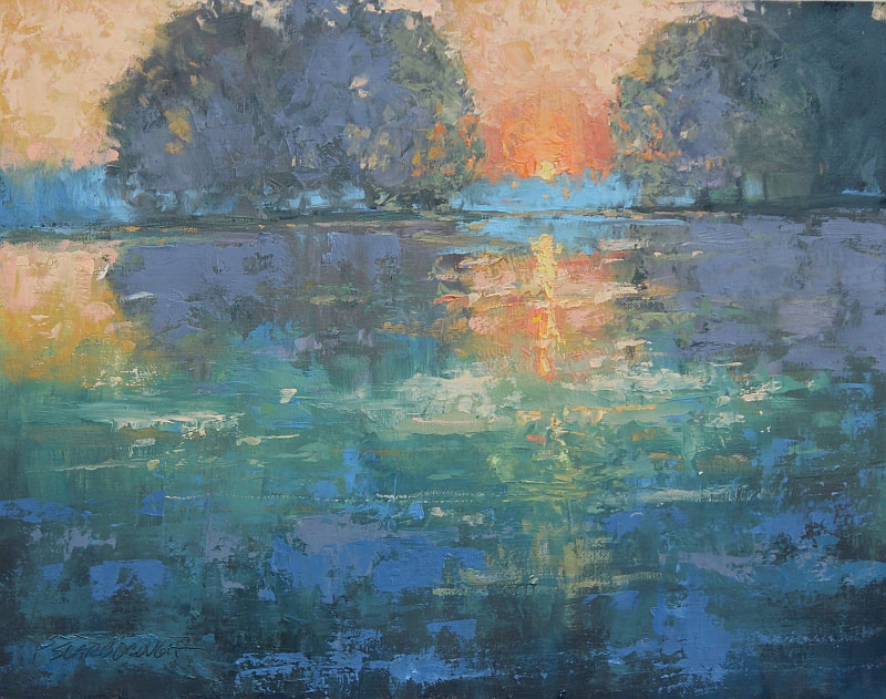 sunrise over water, rich hues and heavy impasto