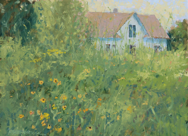 meadow, overgrown yard, old house, small oil painting