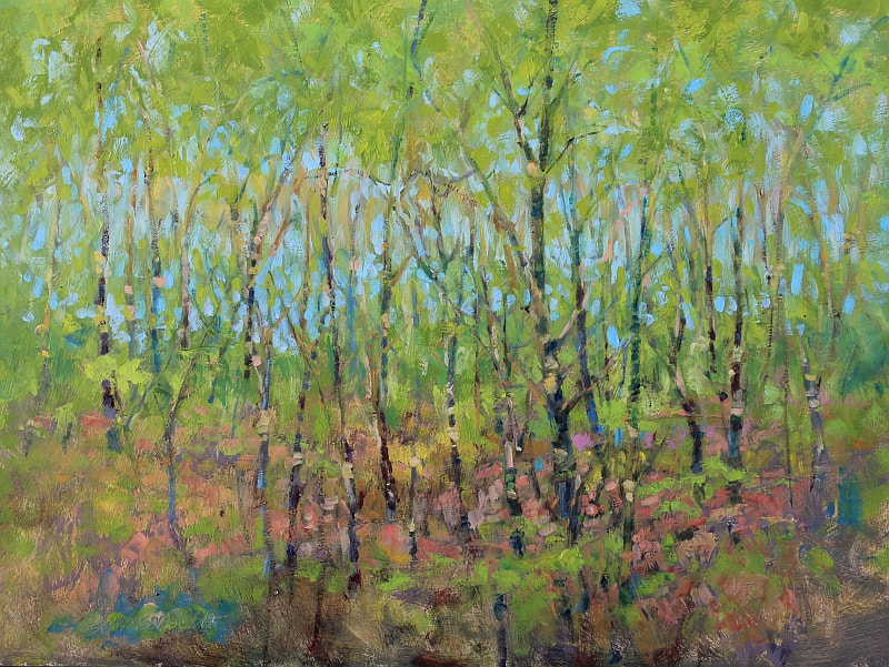 small paintings, abandoned property, trees, groves,
